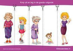Knip uit en leg de plaatjes in logische volgorde van meisje tot oma, kleuteridee.nl , cut out and sequece girl life cycle free printable.