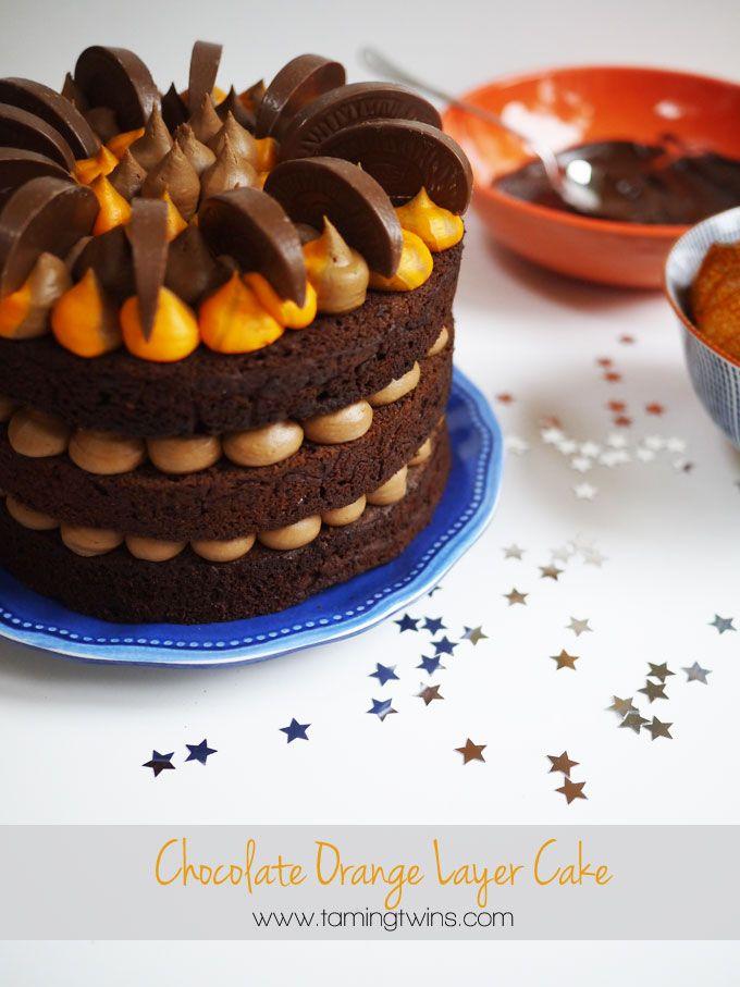 The best ever Chocolate Orange Cake recipe. Layers of moist chocolate orange sponge, sandwiched with chocolate orange buttercream icing.