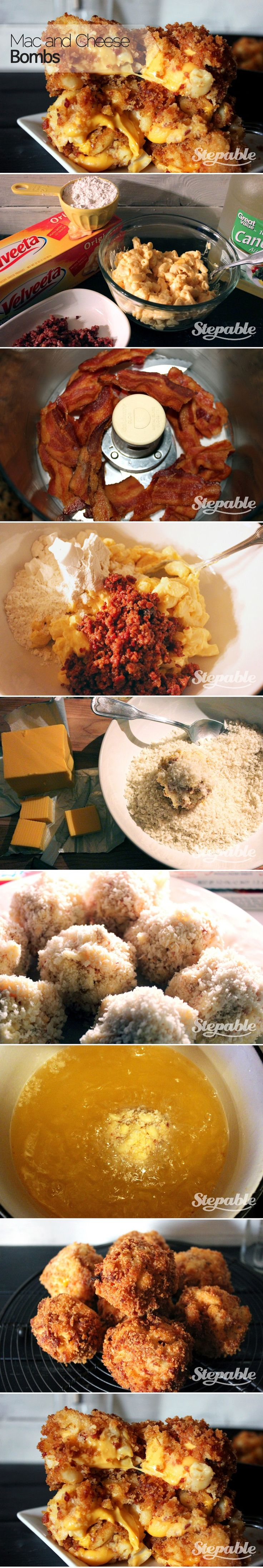 Turn Mac & Cheese into an appetizer with these easy step-by-step instructions. Perfect for game day or your Super Bowl party @Stepable #superbowl #recipes #appetizers