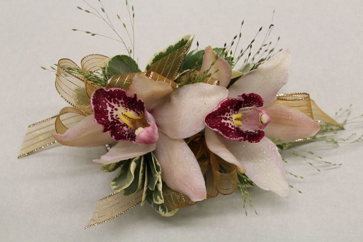 Cymbidium Orchid Wrist Corsages: Blush Cymbidium Orchids Are Paired With Gold Ribbon For A