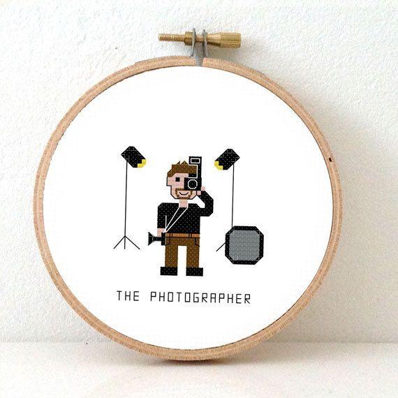 2 x Photographer cross stitch patterns. 2 patterns! DIY ...