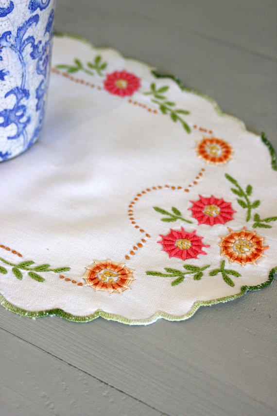 French Vintage Hand Embroidered Oval Table Mat. €5.00, via Etsy.