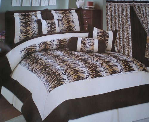 Safari Zebra 7 Pieces Brown Queen Comforter Set Bedding in a Bag by OctoRose. $69.99. Cover: 100% polyester. Size: Queen. Easy Machine Washing. Stylish: Zebra. Fill in: 100% polyester. This Nice Brand New Safari  7 Pieces Brown Comforter set includes: One Comforter  Two Pillow Shams  One Bed Skirt / Dust Ruffle  Two Decorated Cushion Pillows  One Decorated Neck roll