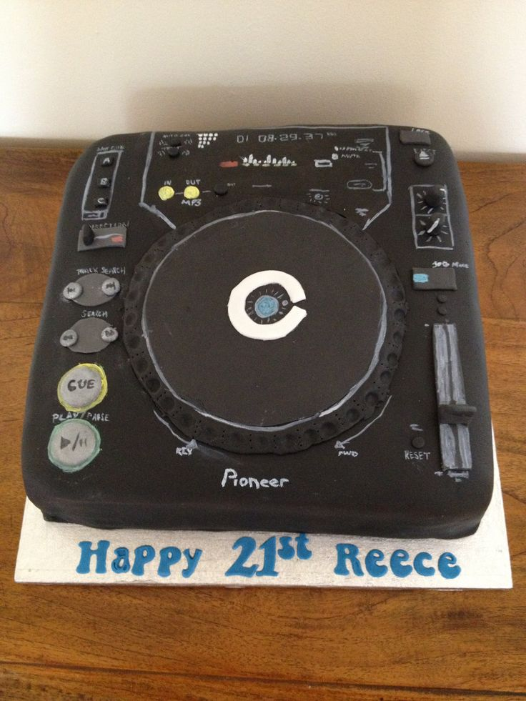 Hand painted Pioneer DJ Decks cake by Cake, Rattle & Roll