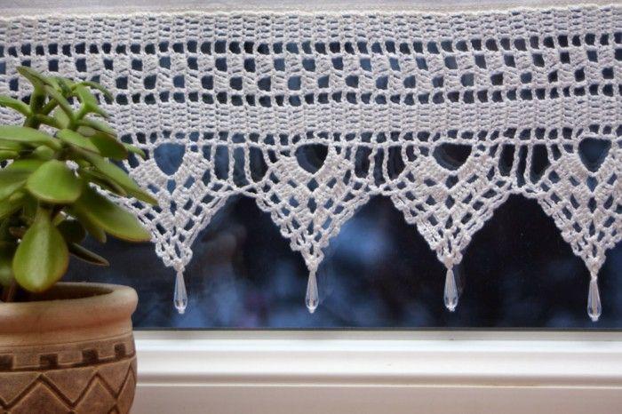 crochet curtains kitchen window plant perde pinterest gardinen h keln gardinen und. Black Bedroom Furniture Sets. Home Design Ideas