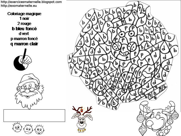 Coloriage magique qui repr sente un renne le d codage consiste diff rencier des lettres - Un coloriage magique ...