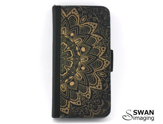 ~ Mandala inspired design wallet phone case ~  Cool, mandala design - starting out bright in the middle circle, & fading out towards the edge of the design / cover.  Available for:  iPhone SE iPhone 5/5S iPhone 6/6S iPhone 6/6S Plus iPhone 7 iPhone 7 Plus  Samsung Galaxy S5 Samsung Galaxy S6 Samsung Galaxy S7 Samsung Galaxy S7 Edge  The wallet phone case is made from PU leather & polyester, with a faux suede interior. There are 2 slots for cards & a pocket for...
