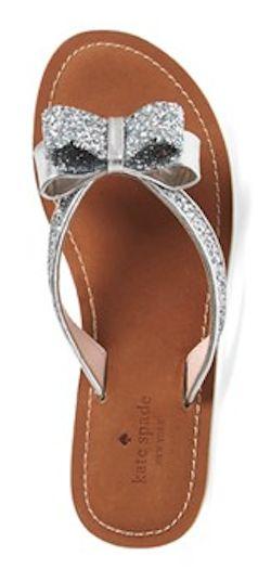 Glitter silver bow flip flops from kate spade