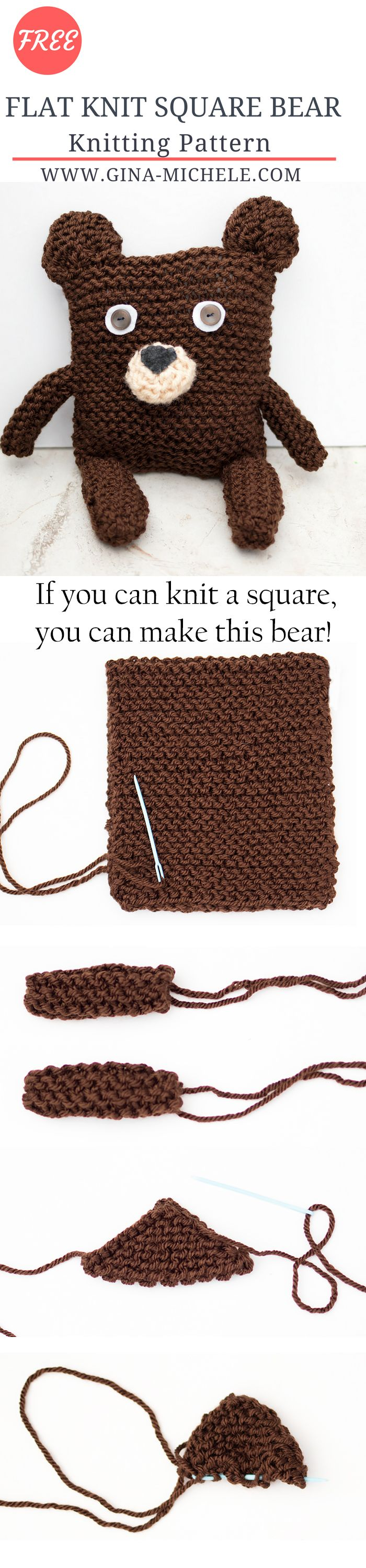 FREE Square Bear Knitting Pattern- if you can knit a square, you can make this bear!