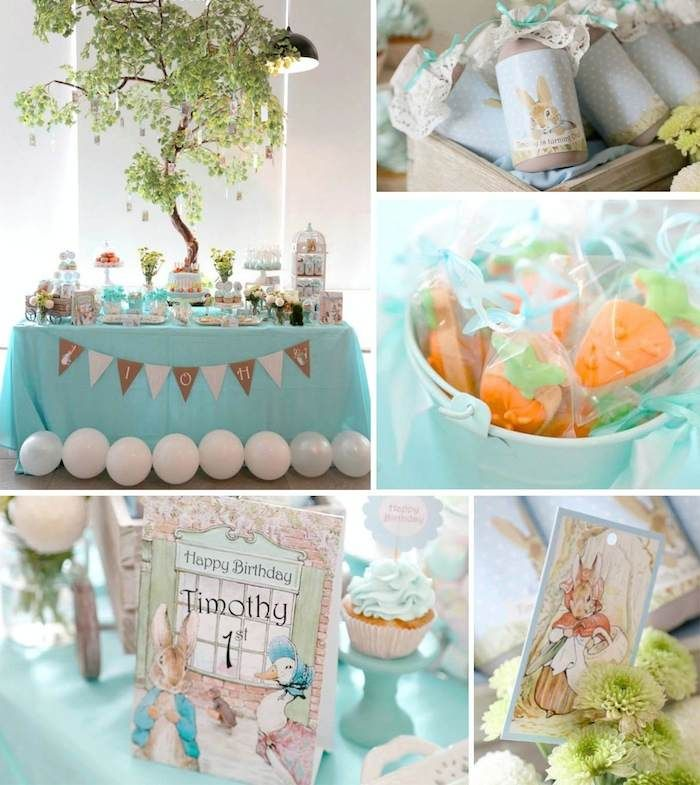 Peter Rabbit Themed 1st Birthday Party with Full of Really Cute Ideas via Kara's Party Ideas | KarasPartyIdeas.com #PeterRabbit #BeatrixPotter #PartyIdeas #Supplies (13)