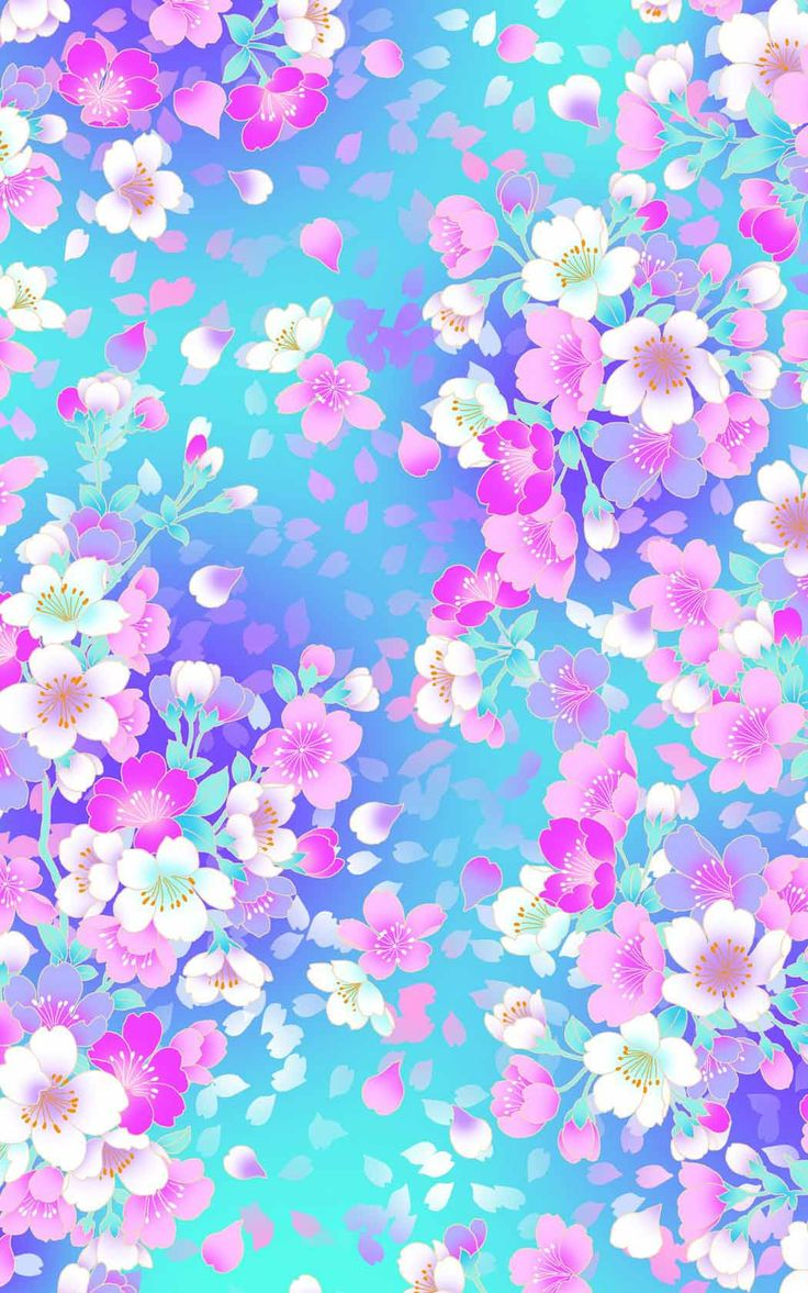 Pink and white blossoms on a blue background