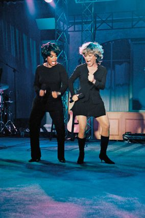 1997 -During the Wildest Dreams tour, Oprah fulfills her own by dancing onstage with Tina Turner.