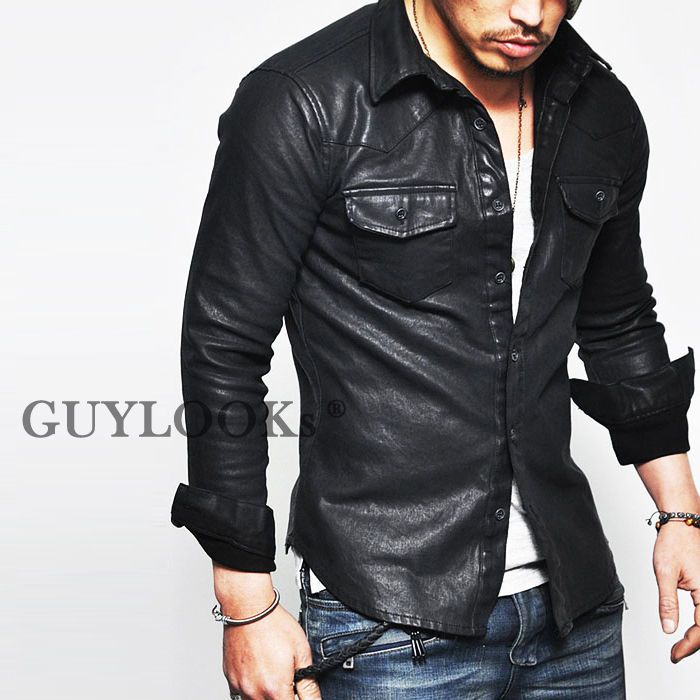 Masculine Edge Design Stretchy Mens Black Faux Leather Western Shirt Guylook