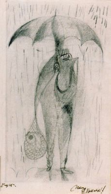 "Frantisek Tichy "" Character with umbrella "" Signed and dated 1942 Pencil on paper, Czech Rep."