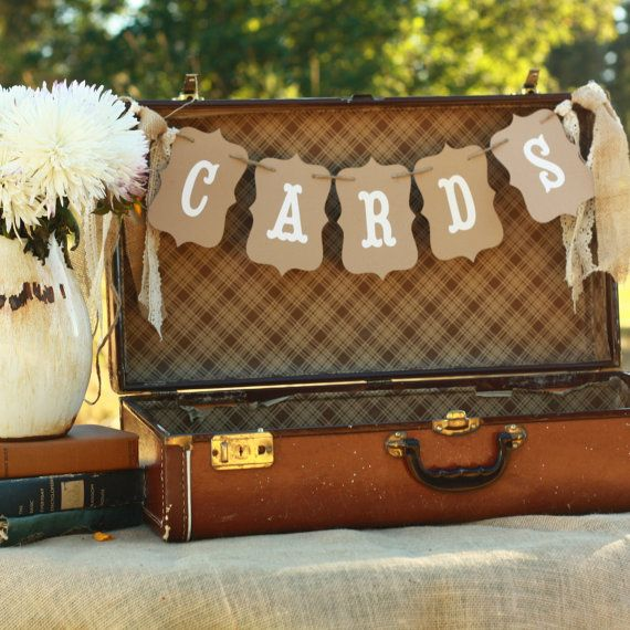 Cards Wedding Banner Sign Suitcase Rustic Burlap on Etsy, $13.95