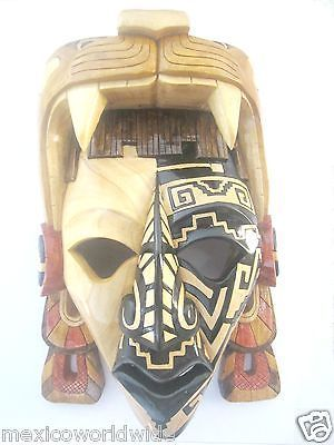 20x13 inch Jaguar Warrior Mask Aztec Art Mexica Mayan Art Mayan Cedar Heart | eBay