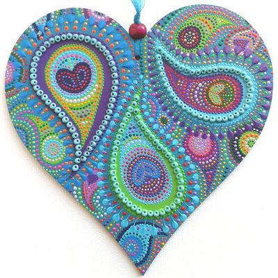 single peacock heart - www.artichicks.co.uk