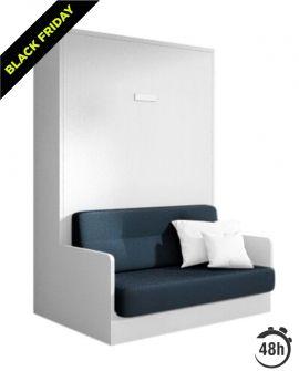 Armoire lit escamotable verticale 140x200 cm avec canapé en tissu et coffre de rangement - JOY