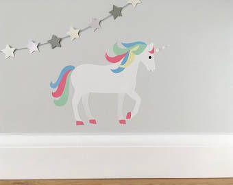 Unicorn Wall Sticker, Unicorn Wall Decal, Unicorn, Pastel Unicorn, Nursery Decor, Girls Wall Stickers, Unicorn Art, Unicorn Room, Pastel