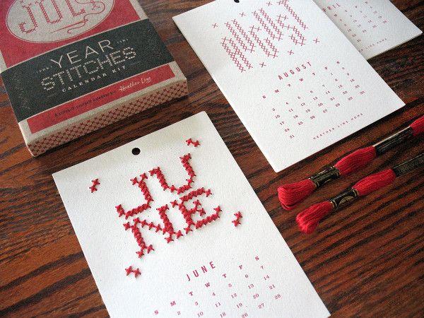Una original idea para personalizar en punto de cruz tu calendario.