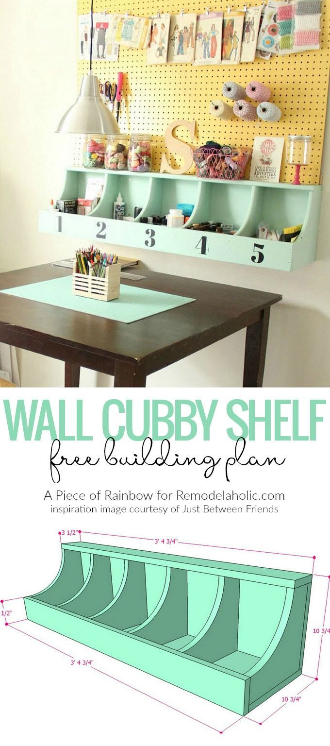 Make this DIY Wall Cubby Shelf using these free building plans to get organized in your home! @Remodelaholic