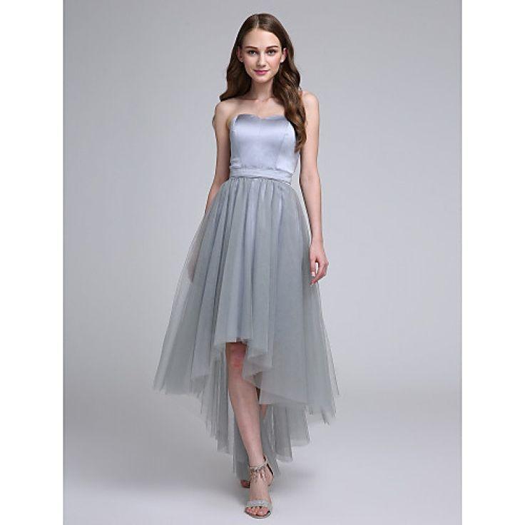 2017 Asymmetrical Satin Tulle Bridesmaid Dress A-line Sweetheart with Sash Ribbon #bridesmaiddresses #greydresses #bridalfeel