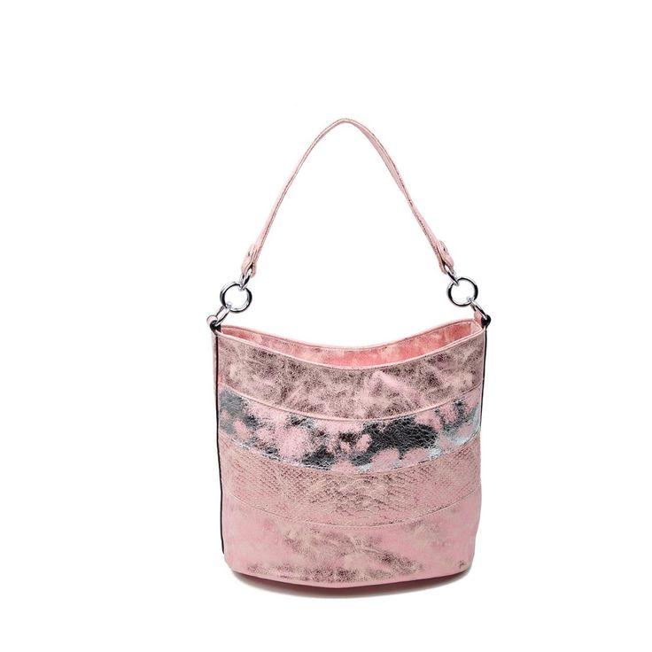 OBC DAMEN TASCHE SHOPPER METALLIC Henkeltasche Schultertasche Umhängetasche Handtasche Beuteltasche Hobo-Bag Handtasche Pink