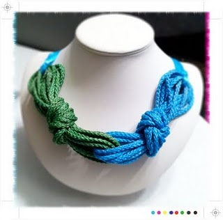 Nautical rope necklace. Love the concept, but with fewer strands (and different color combo).