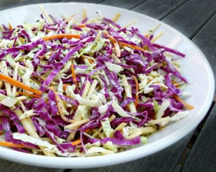 Just by adding a little Sriracha and honey to my traditional coleslaw recipe, I made side-dish magic. You need to try this!