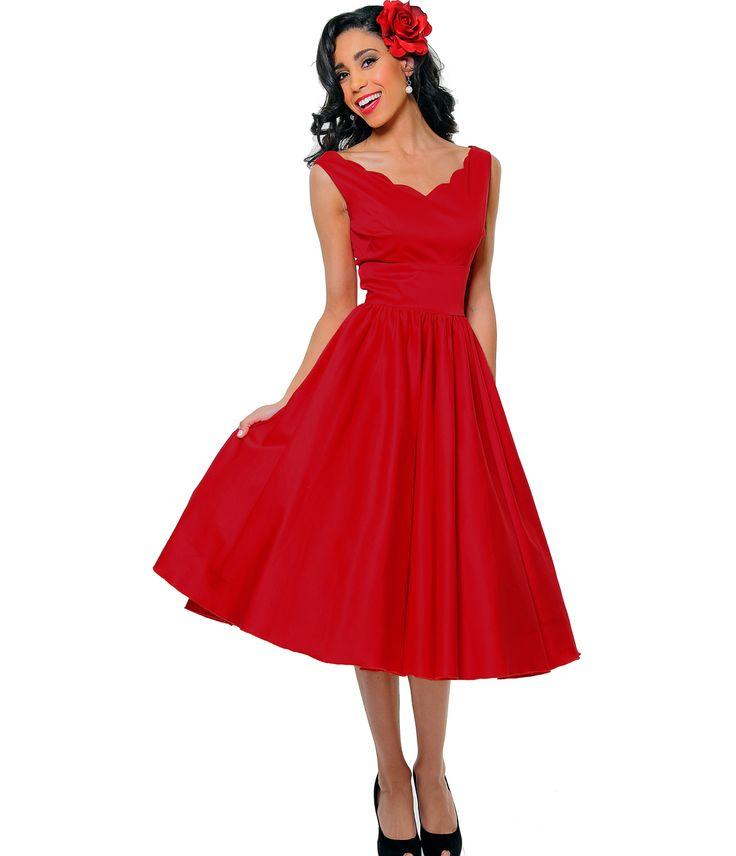 1950s Style Red Cotton Sateen Scallop Brenda Swing Dress - Unique Vintage - Prom dresses, retro dresses, retro swimsuits.