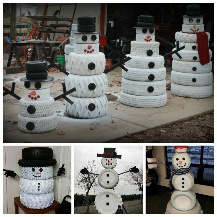 DIY cute tire snowman--> http://wonderfuldiy.com/wonderful-diy-cute-tire-snowman/ #diy #snowman