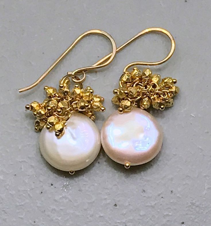 Ivory Coin Pearl Earrings with Gold Nugget Clusters