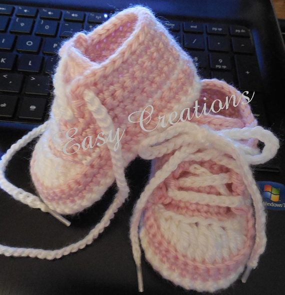 PDF CROCHET PATTERN Baby Baseball Tennis Shoes by easycreations
