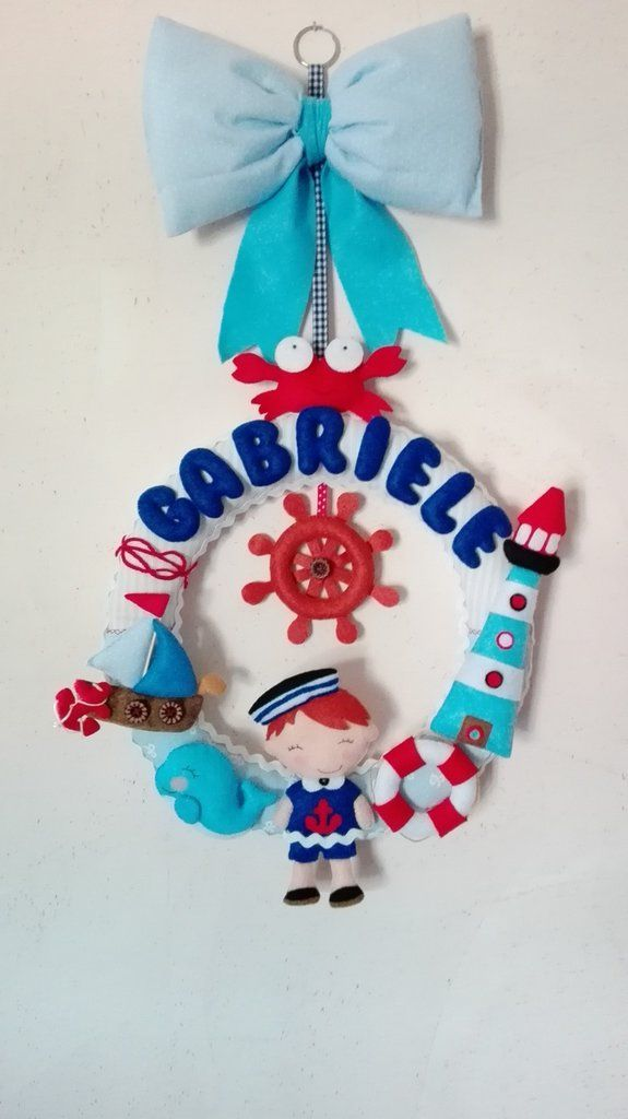 fiocco nascita bambino nautico, by dreamfairy, 35,00 € su misshobby.com