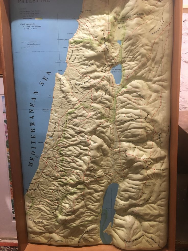 3D topographic map of Israel from 1950