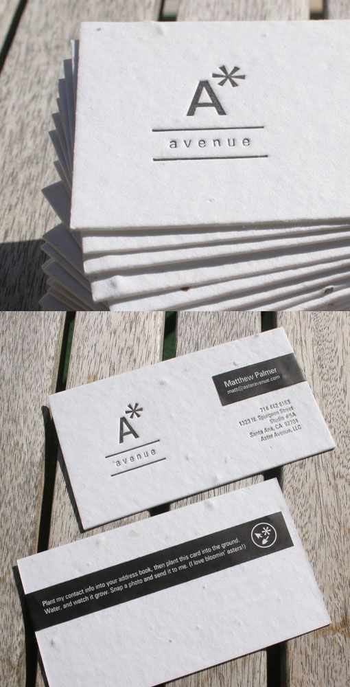 seed paper business card. it actually grows a plant if you put it in the earth!   By Aster Avenue Inc.