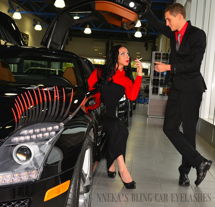 Light her fire big boy in her fiery ravishing red tip Blazing Nneka's Bling Car Eyelashes. Models: Jason and Angee (by Goodfellow Photography) - Check out our designs. Sale pricing ranges from $24.99 - $29.99  http://nnekas.com/category/nnekasblingcarlashes.html  #careyelashes