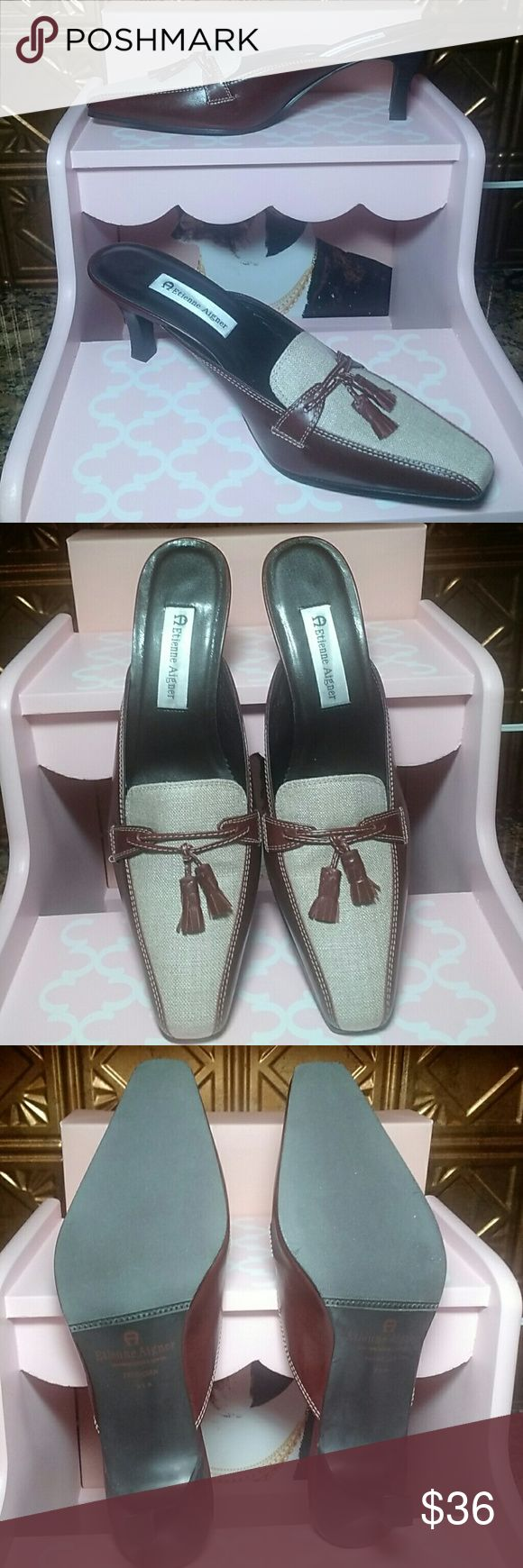 """NWOT!  Etienne Aigner 'Patrician' Leather Mules Leather/textile uppers w/tassels.  Heel height:. 3"""".  Size:. 9.5M Etienne Aigner Shoes Mules & Clogs"""