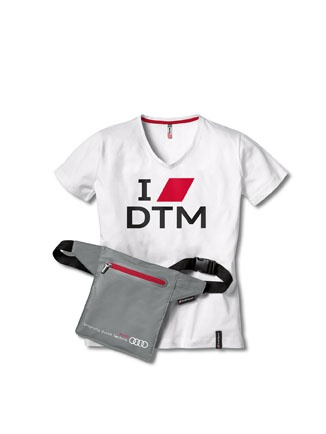 """DTM fan packages T-shirts made from premium-quality cotton with print, lanyard as a key strap, """"I love DTM"""" sticker, packed in a belt bag.    Available from: http://www.m25audi.co.uk"""