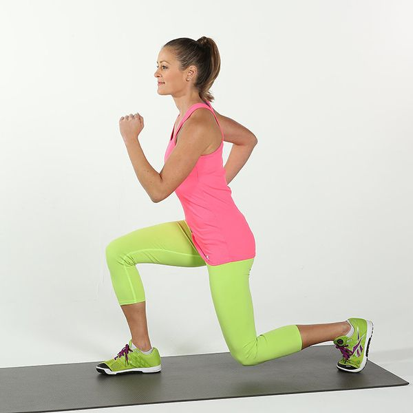 This exercise also tones your thighs. Remember to keep your weight in your heel as you come down into a lunge, and lift your toes up as you're stepping back up from a lunge in order to make the move more effective.