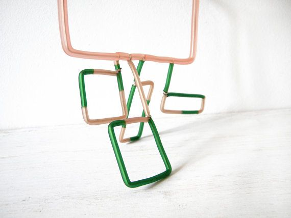 Peach green Square Geometric Statement Necklace by BlackRedDots, $30.00