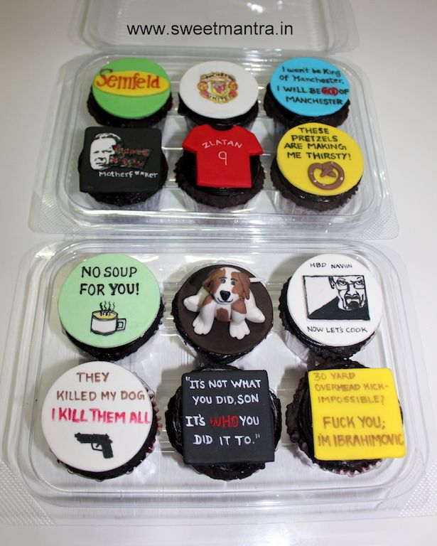 Hollywood movies theme customized, personalized, handcrafted, designer cupcakes for friend at Balewadi, Pune
