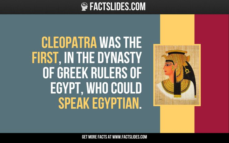 Cleopatra was the first, in the dynasty of Greek rulers of Egypt, who could speak Egyptian.