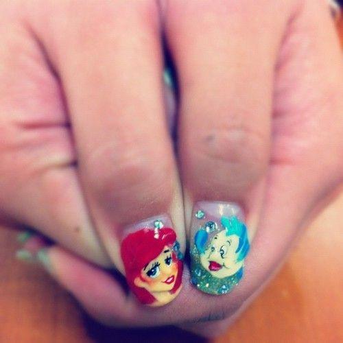 disney nails, disney nail art, the little mermaid, the little mermaid nails, audrey kitching
