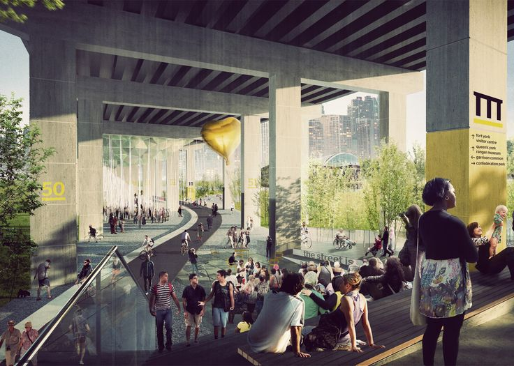 Toronto has revealed plans to construct a new park below an elevated highway, featuring outdoor performance spaces and a walking trail