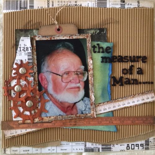Measure of a Man page created with KaiserCraft Mister Fox collection by Barb for My Scrappin' Shop.