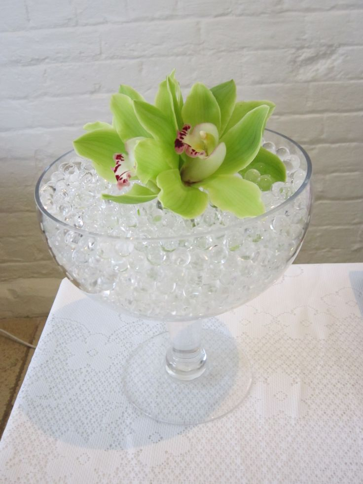Vase with orchids and gel beads
