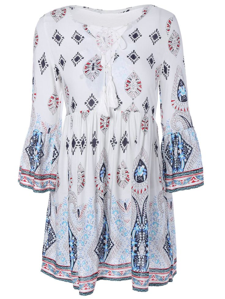 Tribal Print Lace-Up Smock Dress