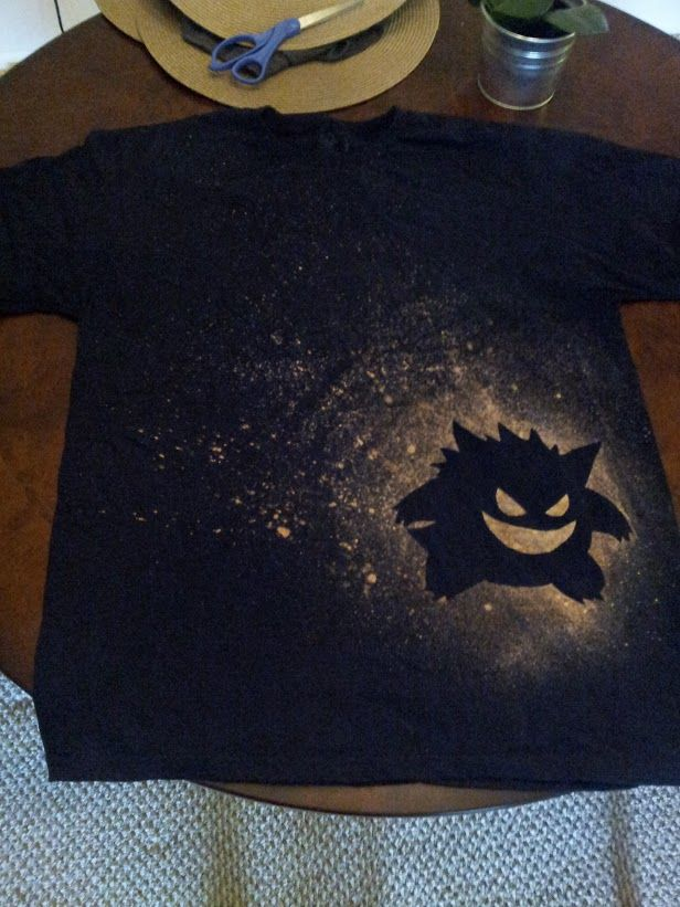 Second attempt with step by step on making my Gengar bleached shirt. - Imgur