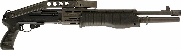 """File:Franchi-SPAS-12 is very often shown as a pump action shotgun firing buckshot. It's a combination action shotgun, capable of pump or semi-auto with the pressing of a button. Usually, the gun is only used in pump mode in the real world when underpowered shells are used. Only full loads are capable of operating the semi-auto gas system. Also, in Semi Auto mode, it has a problem cycling even Hollywood """"hot"""" blanks with a Blank Firing Adapter. Since 2000, production has ceased."""
